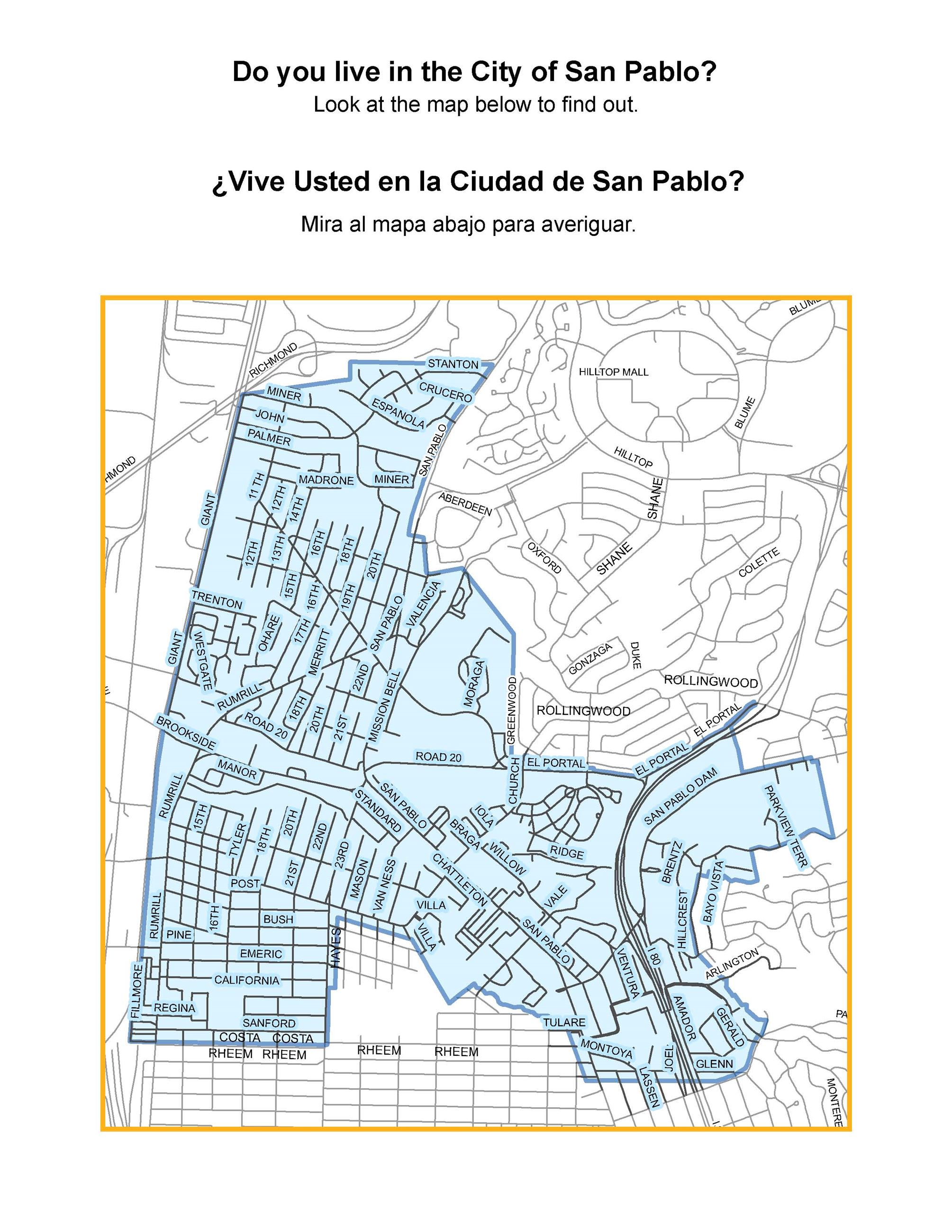 Small-scale map of the City of San Pablo boundaries