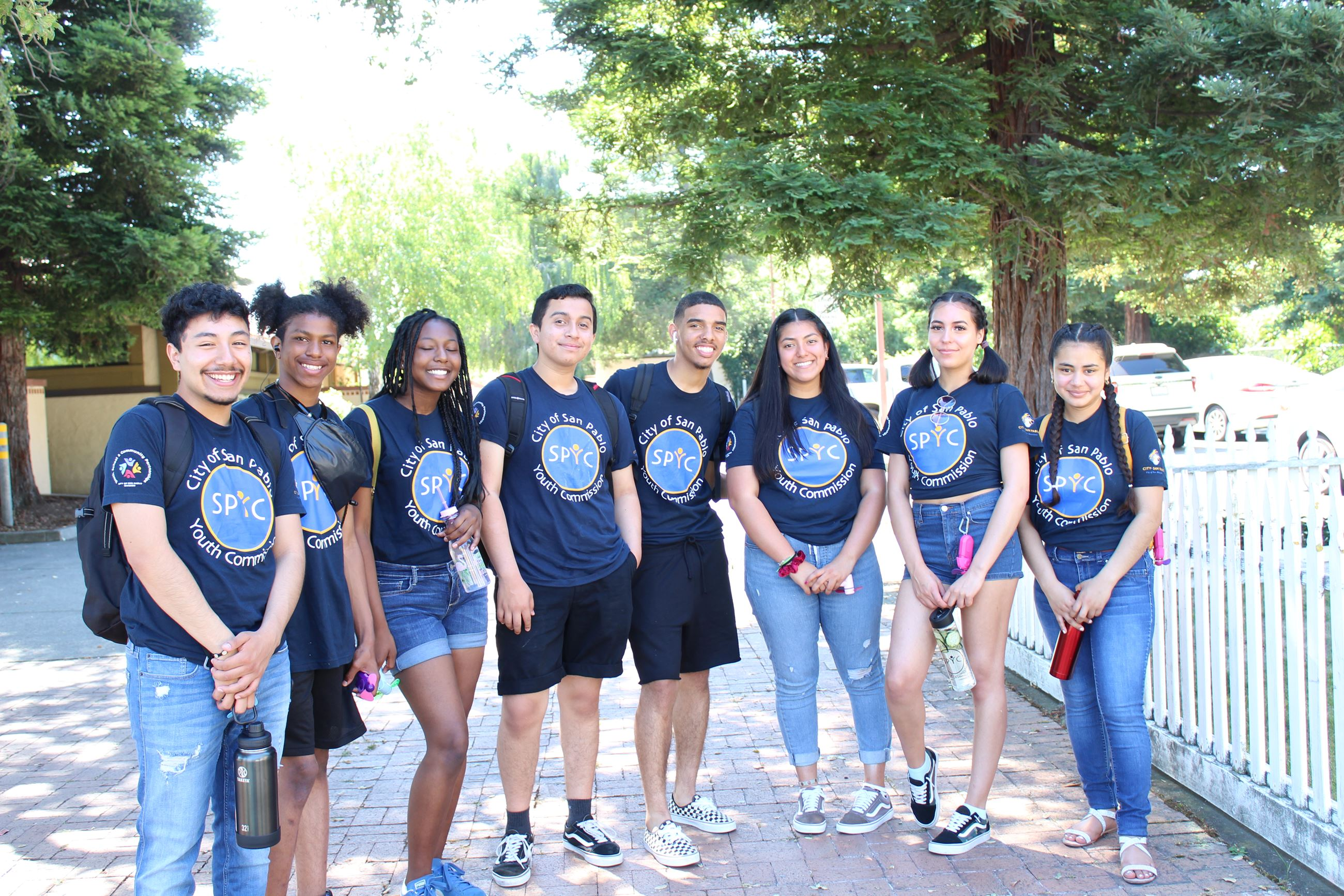 San Pablo Youth Commissioners Posing Before Attending Sacramento State College Tour
