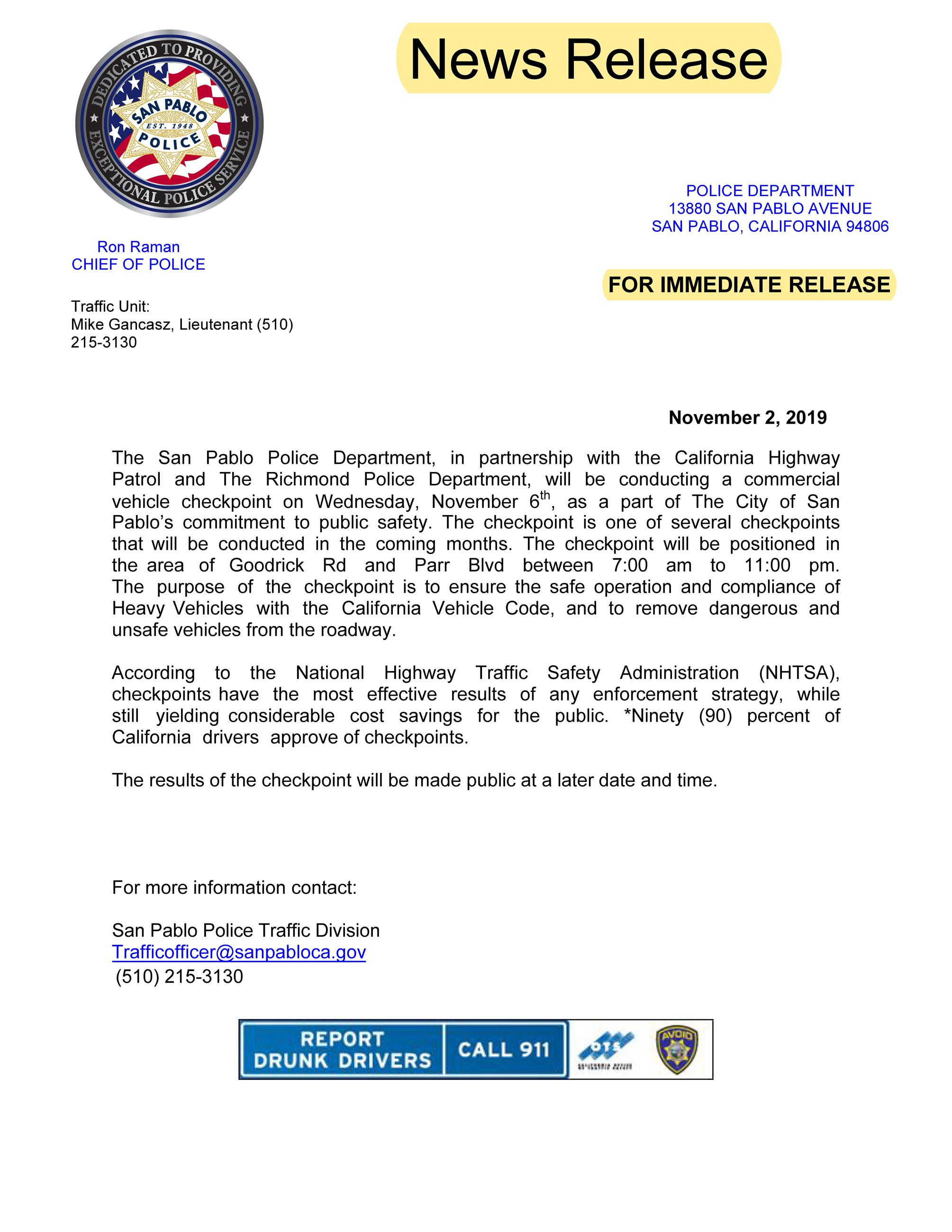 COMMERCIAL CHECKPOINT PRESS release 06Nov2019