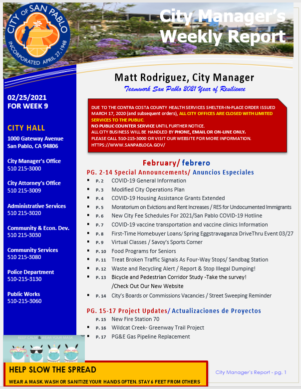 City Manager's Weekly Report-February 25, 2021