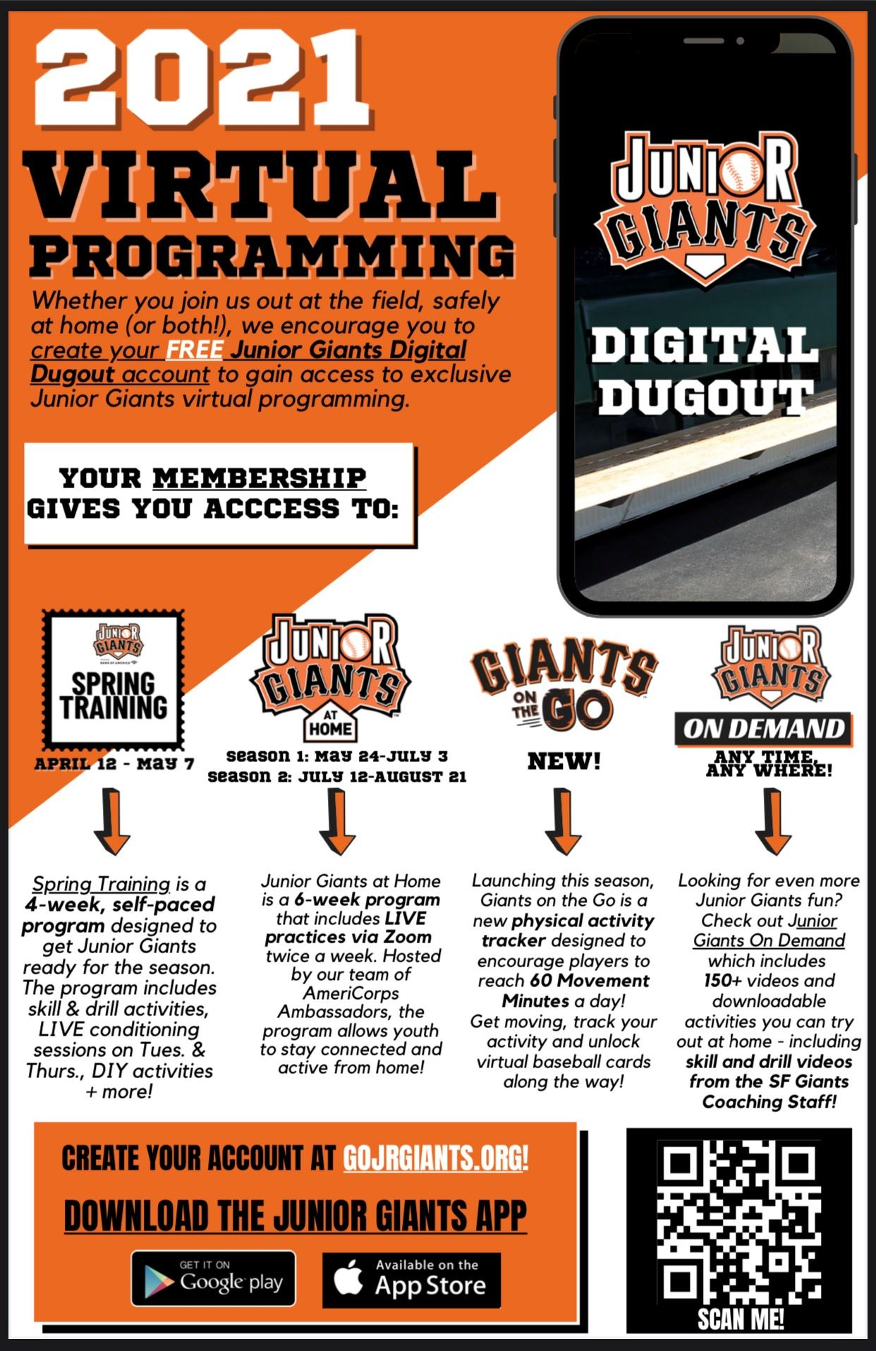 English Jr Giants Virtual Programming Flyer