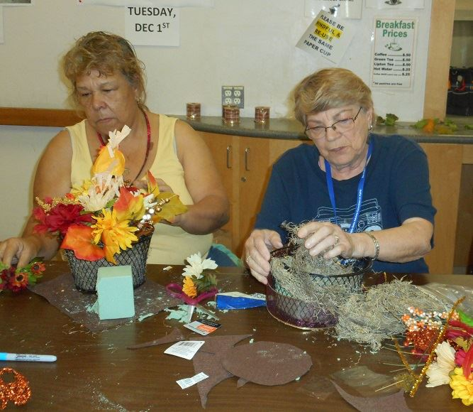 Senior Center Participants enjoying Fall Arts & Crafts